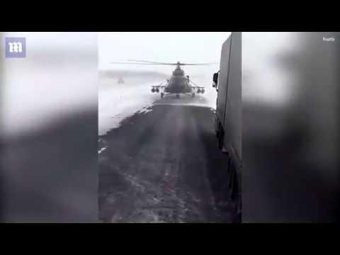 Lost helicopter pilot lands on Kazakhstan's road  to ask for directions