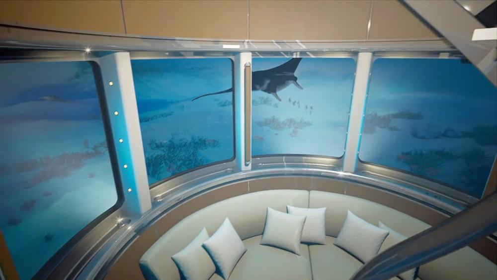 مصعد زجاجي يحول اليخوت الفارهة إلى أكواريوم